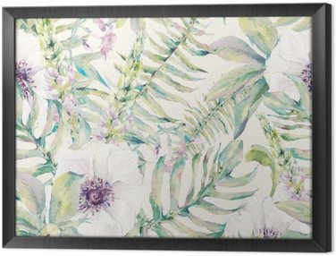 Watercolor leaf seamless pattern with ferns and flowers Framed Canvas
