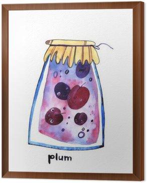 Framed Canvas watercolor plum jem