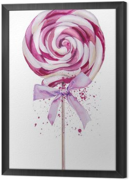 watercolor sweet Lollipop Framed Canvas