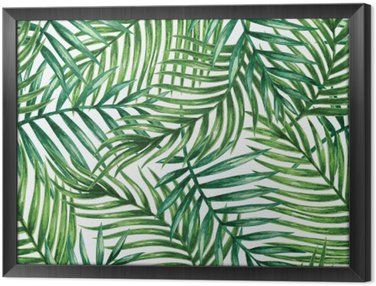 Watercolor tropical palm leaves seamless pattern. Vector illustration. Framed Canvas