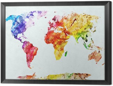 Framed Canvas Watercolor world map