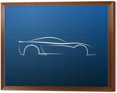White car logo on blue texture
