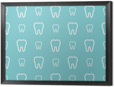 White teeth on blue background. Vector dental seamless pattern. Framed Canvas
