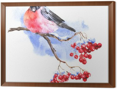 Winter Watercolor background with bullfinches