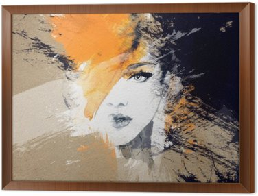 woman portrait .abstract watercolor .fashion background Framed Canvas