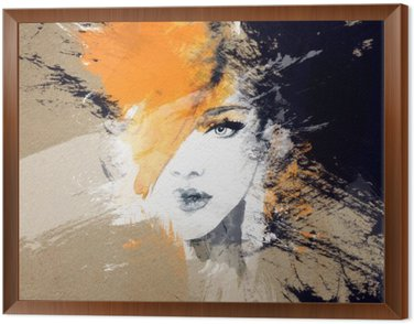 Framed Canvas woman portrait .abstract watercolor .fashion background
