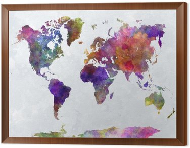 Framed Canvas World map in watercolorpurple and blue