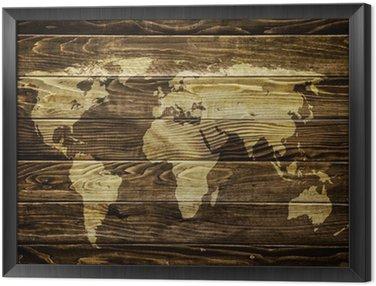 World map on wood background