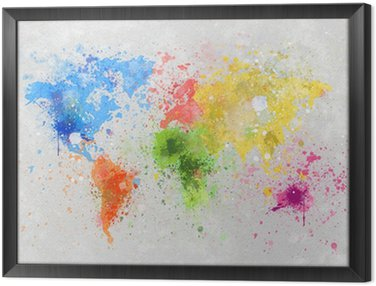 Framed Canvas world map painting