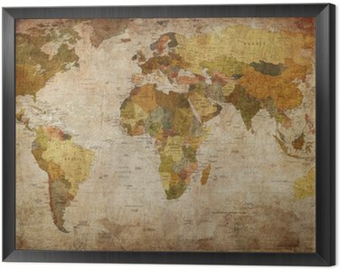 World Map Framed Canvas