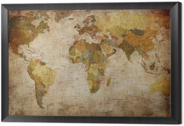 Framed Canvas World Map