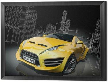 Framed Canvas Yellow sports car. Original car design.