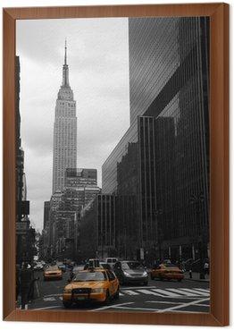 Framed Canvas Yellow taxis on 35th street, Manhattan, New York