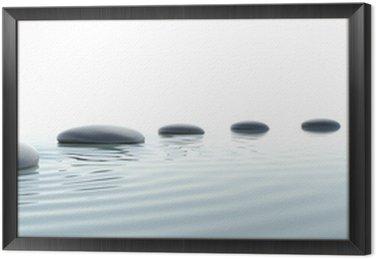 Framed Canvas Zen path of stones in widescreen