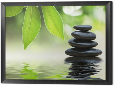 Framed Canvas Zen stones pyramid on water surface, green leaves over it