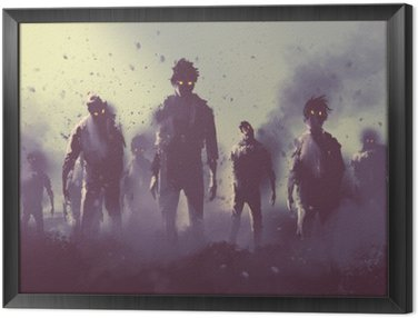 Framed Canvas zombie crowd walking at night,halloween concept,illustration painting