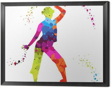 Framed Canvas zumba with colored dots