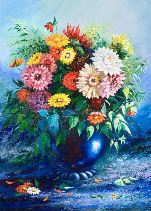 Framed Picture Bouquet of wild flowers in a vase - Themes