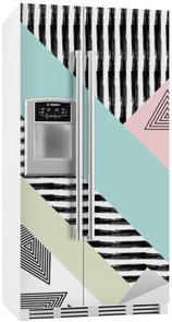 Fridge Sticker Abstract hand drawn geometric pattern