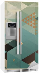 Fridge Sticker Abstract Retro Geometric Background with clouds