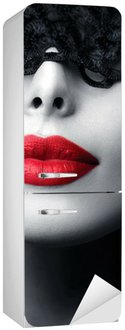 Beautiful Woman with Black Lace Mask over her Eyes Fridge Sticker