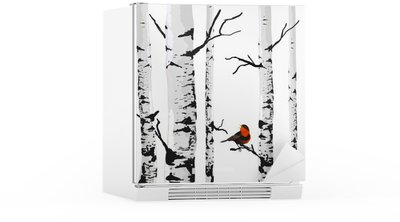 Bird of birches, vector drawing with editable elements. Fridge Sticker