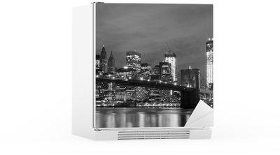 Brooklyn Bridge and Manhattan Skyline At Night, New York City Fridge Sticker
