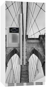 Fridge Sticker Brooklyn Bridge New York City close up architectural detail in timeless black and white