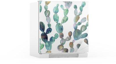 Cactus pattern in watercolor style Fridge Sticker