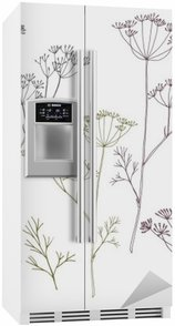 Fridge Sticker Dill or fennel flowers and leaves.