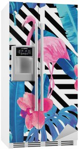 Fridge Sticker flamingo and orchids pattern, geometric background