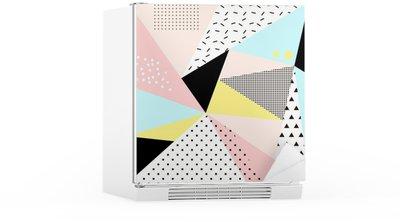 Geometric memphis background.Retro design for invitation, business card, poster or banner. Fridge Sticker