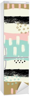 Hand drawn seamless pattern with brush strokes in pastel colors. Fridge Sticker