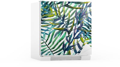 leaves abstract pattern background wallpaper watercolor Fridge Sticker