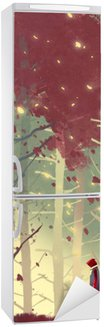 Fridge Sticker man standing in beautiful forest with falling leaves,illustration painting