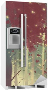 man standing in beautiful forest with falling leaves,illustration painting Fridge Sticker