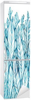 Fridge Sticker pattern of blue leaves, grass, feathers, watercolor ink drawing