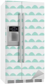 Fridge Sticker Scandinavian seamless mint pattern in hand drawn style. Stylized hill rows. Wave simple pattern for fabric, textile and baby linen.