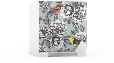 Seamless floral pattern with hand-drawn roses and birds. Vector Fridge Sticker
