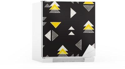 Seamless hand-drawn triangles pattern. Fridge Sticker