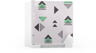 Seamless hand-drawn triangles pattern. Fridge Sticker
