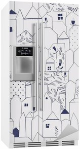 Fridge Sticker Seamless pattern. Figure cities in vintage style.