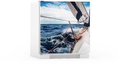 The white sails of yachts on the background of sea and sky in the clouds Fridge Sticker