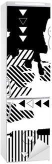 Trendy black-and-white geometrical background. Retro style texture