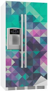Fridge Sticker Triangle background, green and violet