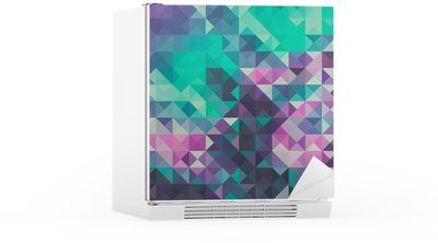 Triangle background, green and violet Fridge Sticker