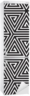 Fridge Sticker Triangles, Black and White Abstract Seamless Geometric Pattern,
