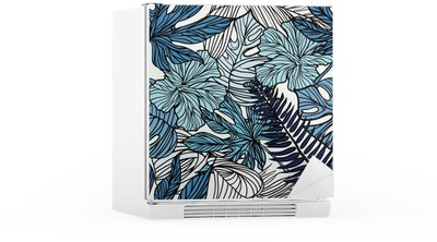 Tropical exotic flowers and plants with green leaves of palm. Fridge Sticker