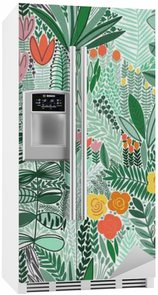 Fridge Sticker Tropical seamless floral pattern