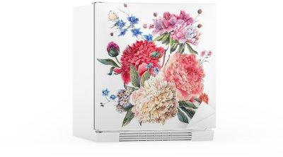 Vintage Floral Greeting Card with Blooming Peonies Fridge Sticker